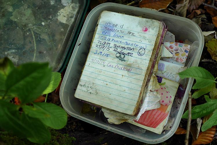 Slightly mouldy logbook!